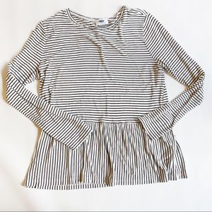 Old Navy Tops - OLD NAVY Long Sleeve Stripe Peplum Top Medium